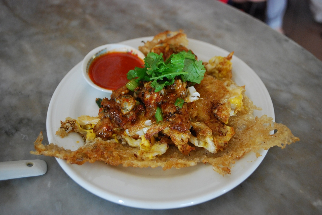 Oh chien, oyster omelet served at Penang kopitiam
