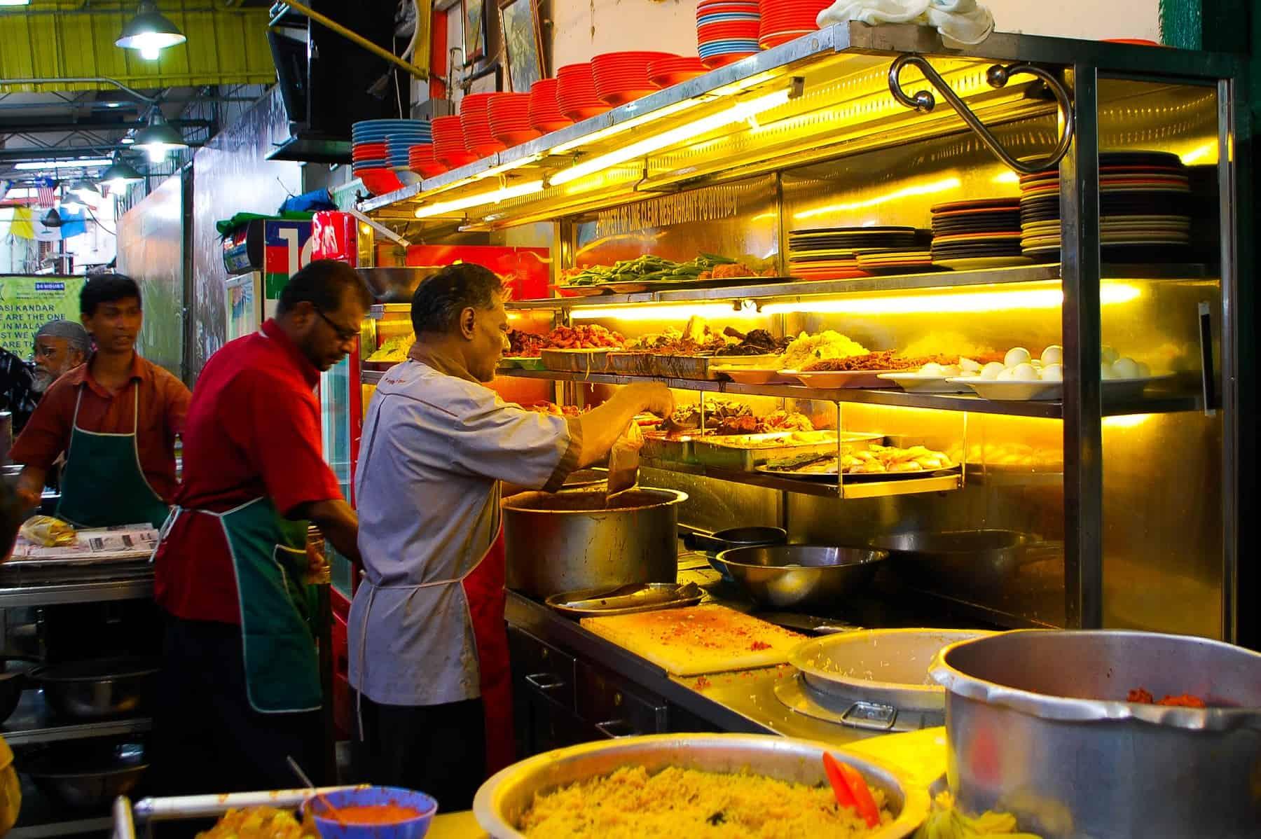 Food counter at Line Clear, Penang