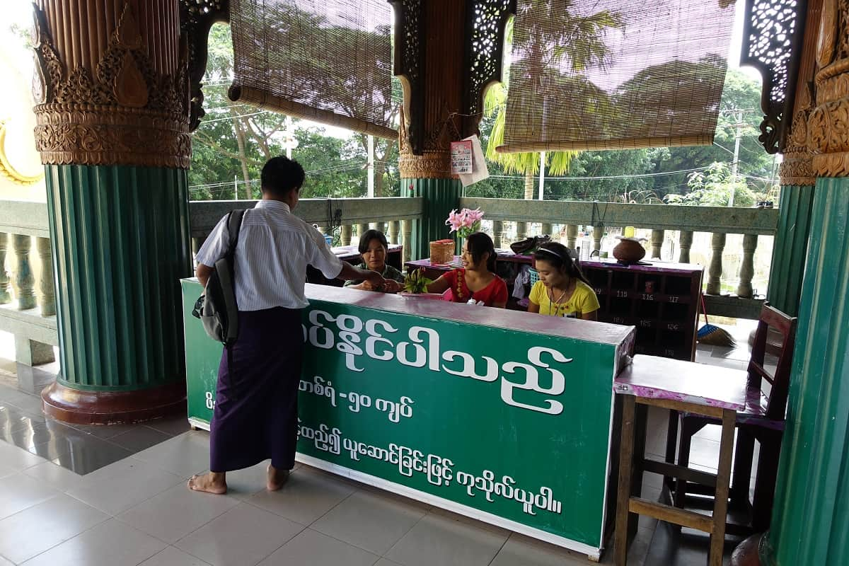 Shoe counter at north passageway, Shwedagon