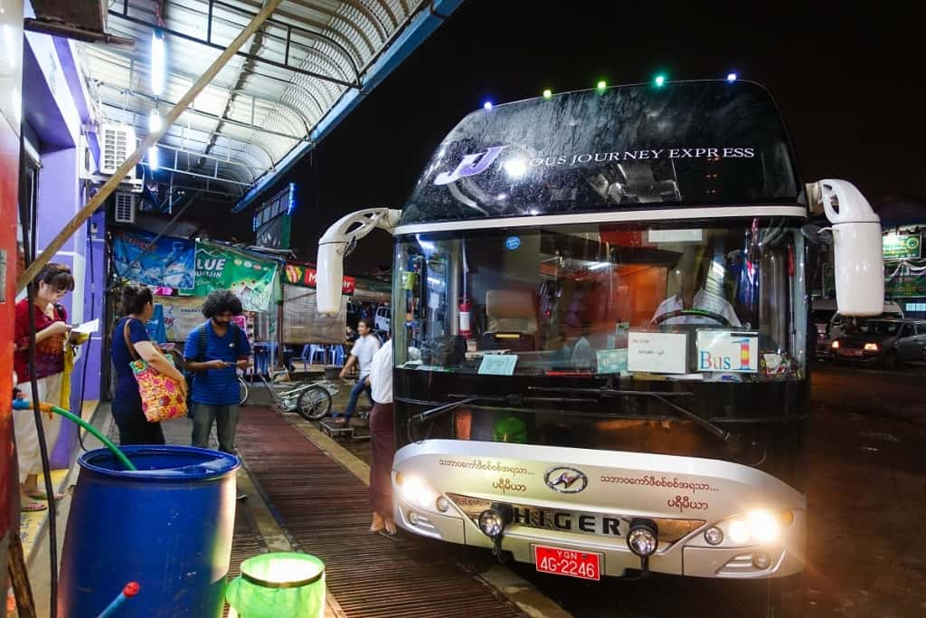 Myanmar bus station in Yangon