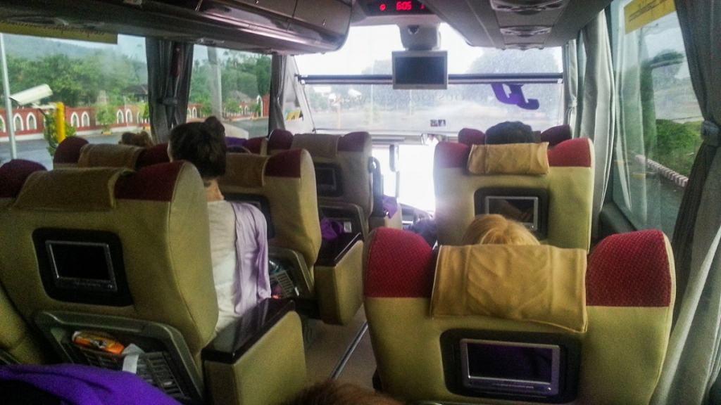 Interior of VIP bus in Myanmar