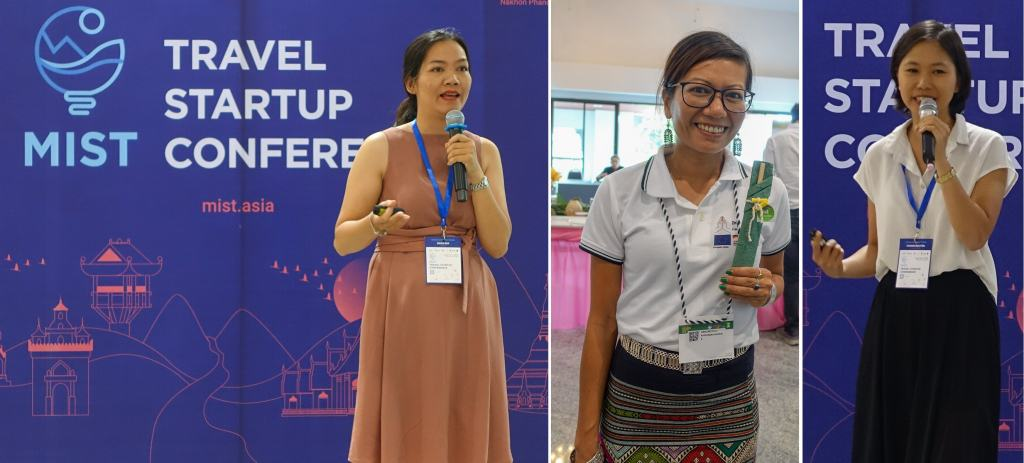 Three startup CEOs presenting at the Mekong Tourism Forum
