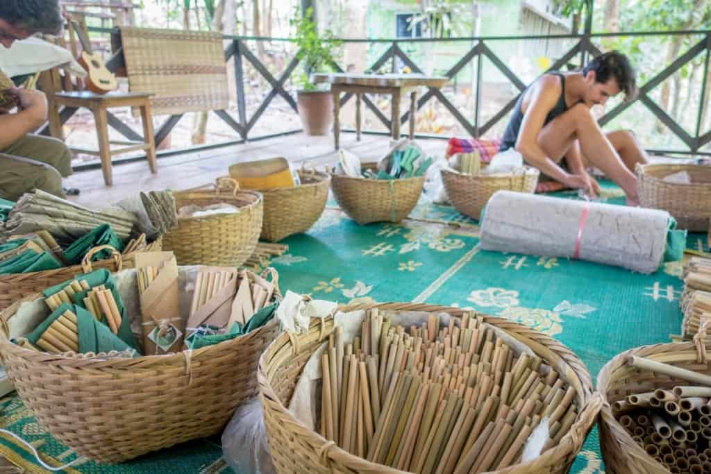 Bamboo straw packaging process. Image courtesy of BambooLao