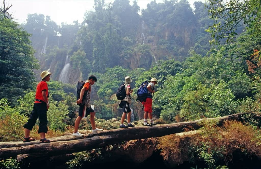 Trekking to Thi Lo Su Waterfall, Thailand. Image courtesy of the Tourism Authority of Thailand