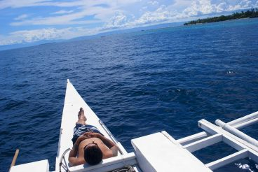 Boat sailing off Panglao Island, Philippines